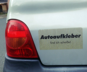 ironischer Autoaufkleber