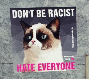 sarkasmus - politischer Aufkleber mit böser Katze